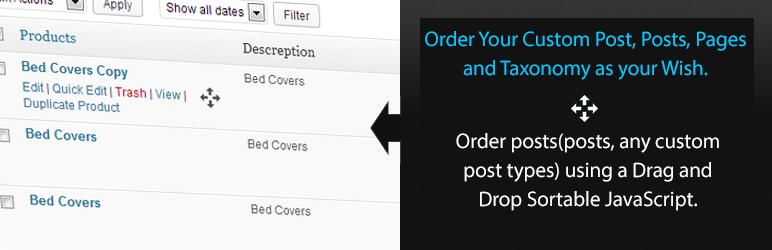 WordPress文章、分类自定义排序插件:Simple Custom Post Order