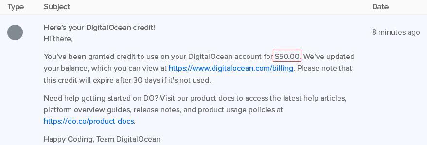 DigitalOcean:注册送50美元/KVM/按小时计费/八机房