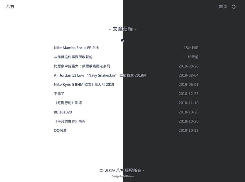 WordPress昼夜双版极简博客主题:Evian 免费下载